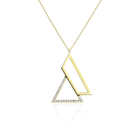 Triangle Gold Swarovski Pendant Necklace by Osylia Jewellery - available at collectiveboutique.co.uk