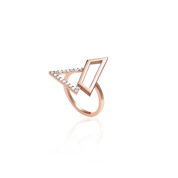 Triangle Rose Gold Swarovski Ring by Osylia Jewellery - available at collectiveboutique.co.uk