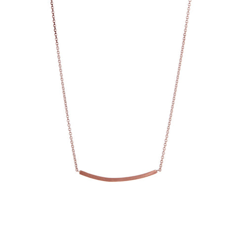 Curve Bar Rose Gold Necklace