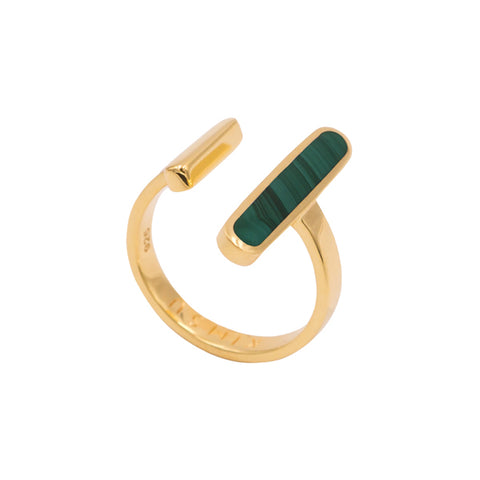 Gold Malachite Open Ring
