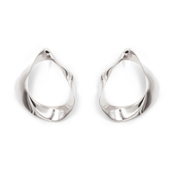 silver statement hoop earrings