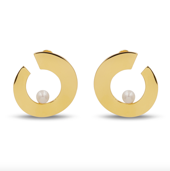 gold and pearl statement earrings