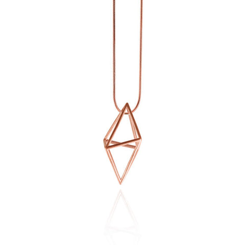 Tre Rose Gold Geometric Necklace by Osylia Jewellery - available at collectiveboutique.co.uk