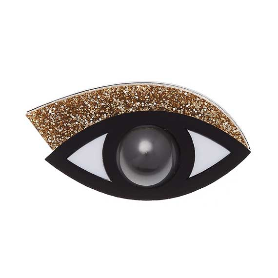 Jennifer Loiselle Gold Glitter Eye brooch