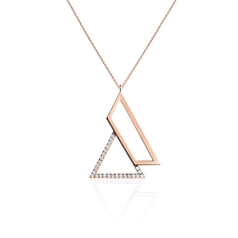 Triangle Rose Gold Swarovski Pendant Necklace by Osylia Jewellery - available at collectiveboutique.co.uk
