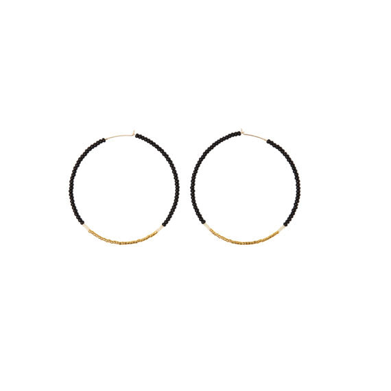 Endito Large Black & Gold Hoop Earrings by Sidai Designs - available at collectiveboutique.co.uk