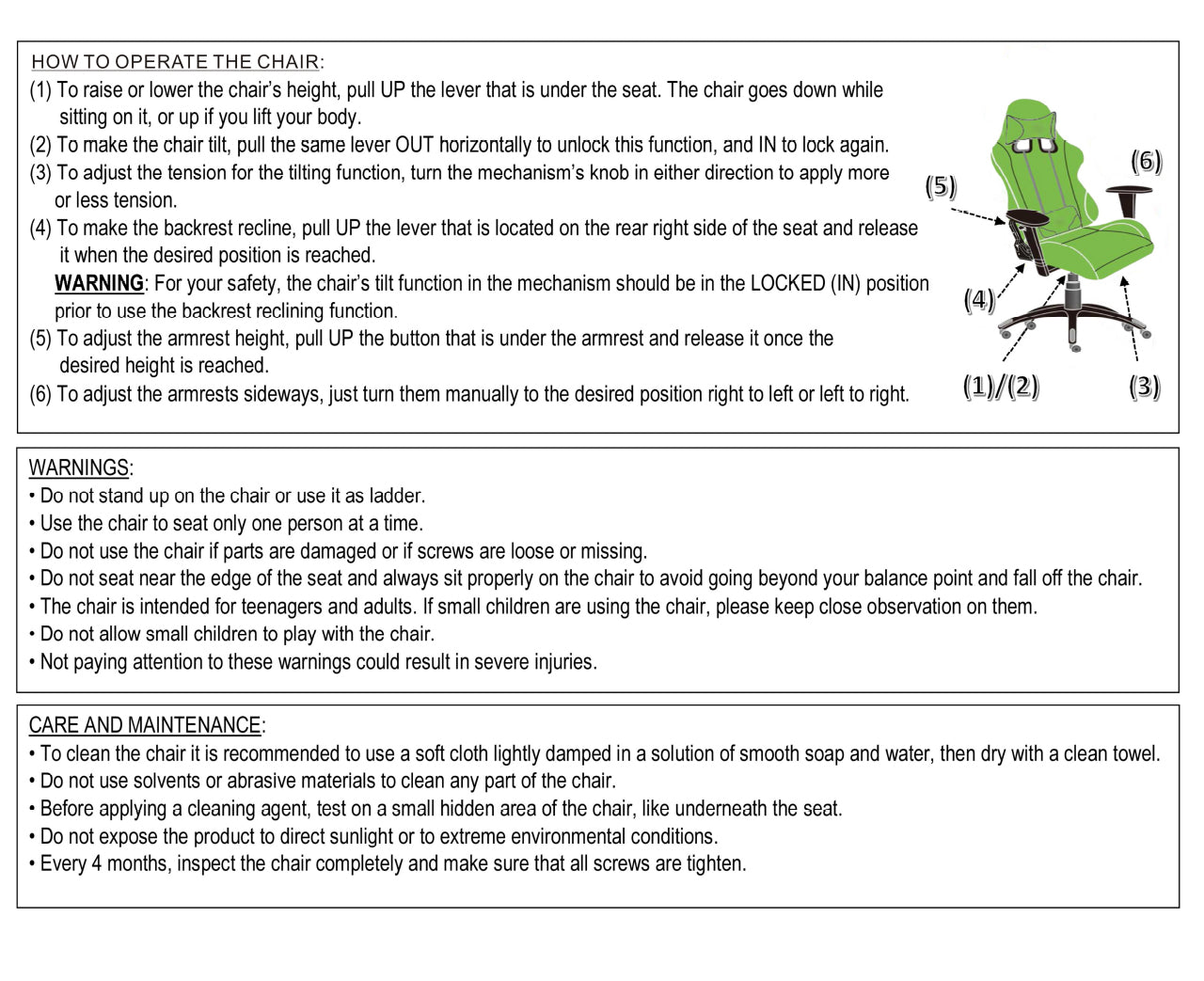 Homall Gaming Chair Assembly Instructions