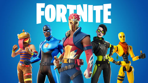 fortnite wallpaper with 5 people dressed up in fun, exciting skins