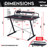 Techni Sport Gaming Desk - Carbon