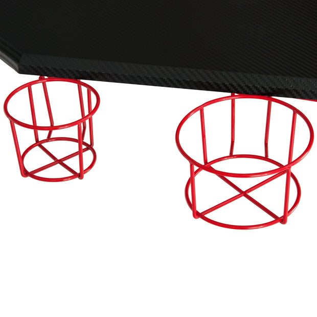 Cup Holders on Red Gaming Desk Stryker from TechniSport