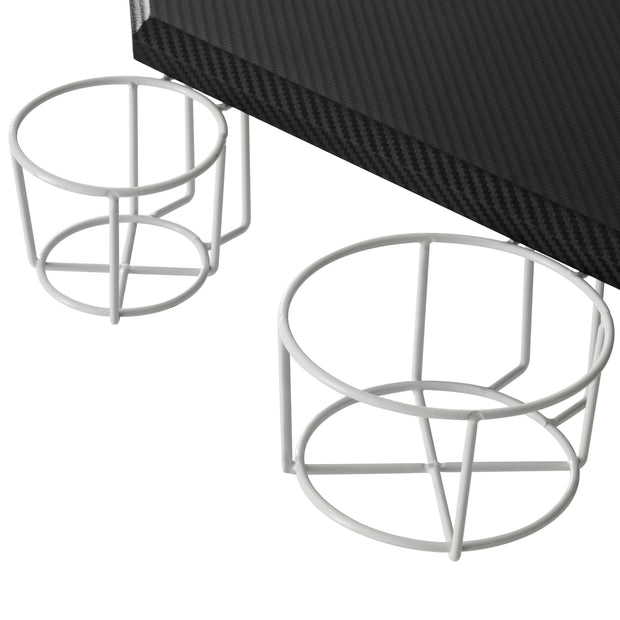 White Gaming Cup Holder Computer Desk by TechniSport
