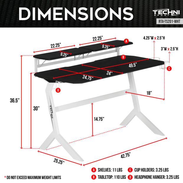 Dimensions of TechniSport Gaming Desk in White - Stryker