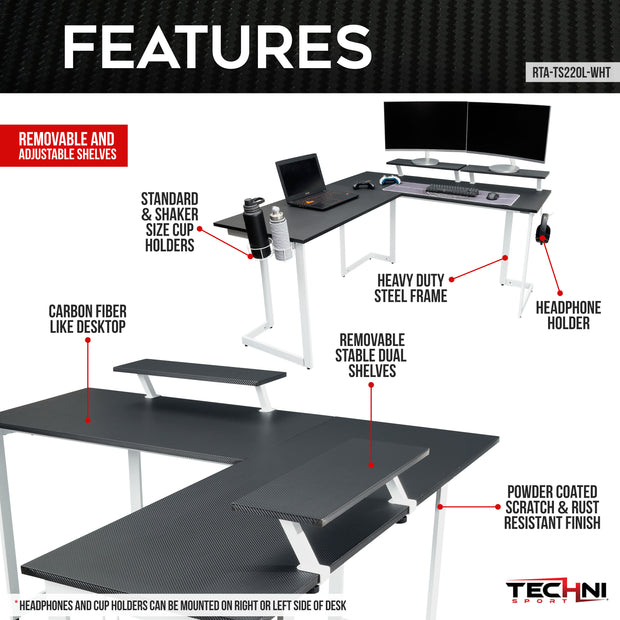 gaming desk chrome finish features