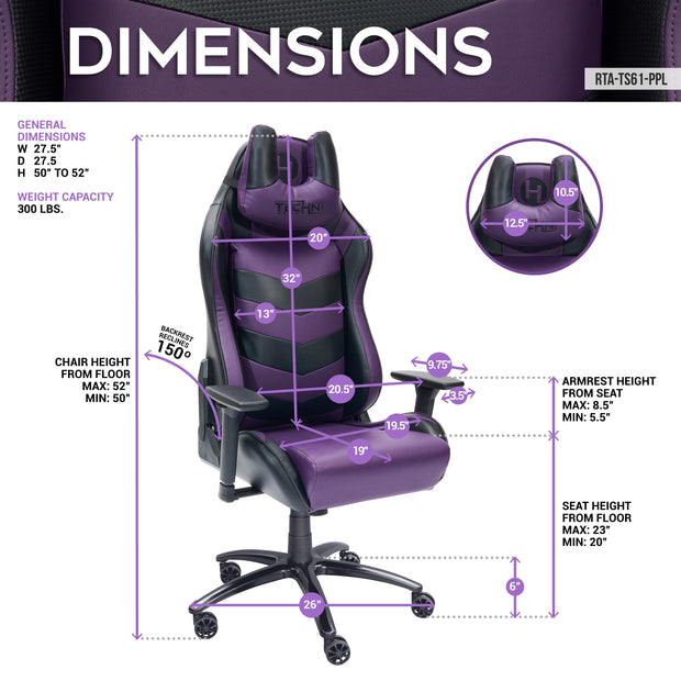TS61 COMFORT PLUS Purple Gaming Chair