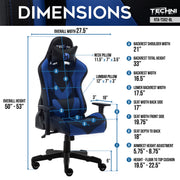 TS 92 Blue Gaming Chair Dimensions