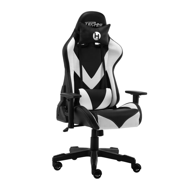 Side view of TechniSport 92 White Gaming Chair