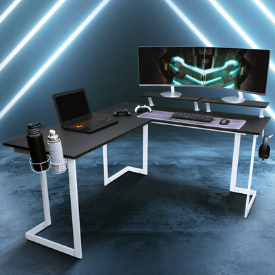L-shaped corner gaming desk