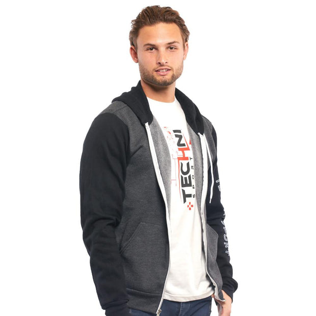 GameON2 Techni Zip-Up Unisex Hoodie - Grey & Black