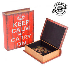 Vintage Coconut Keep Calm Wooden Book Boxes (2 pieces)