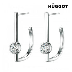 Hûggot Hook 925 Sterling Silver Earrings with Zircons