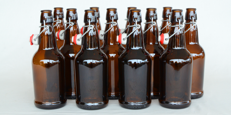 Case 16oz Amber EZ Cap Bottles w/ Swing-Tops