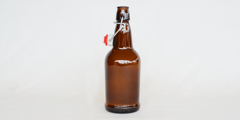 16oz Amber EZ Cap Bottles w/ Swing-Tops
