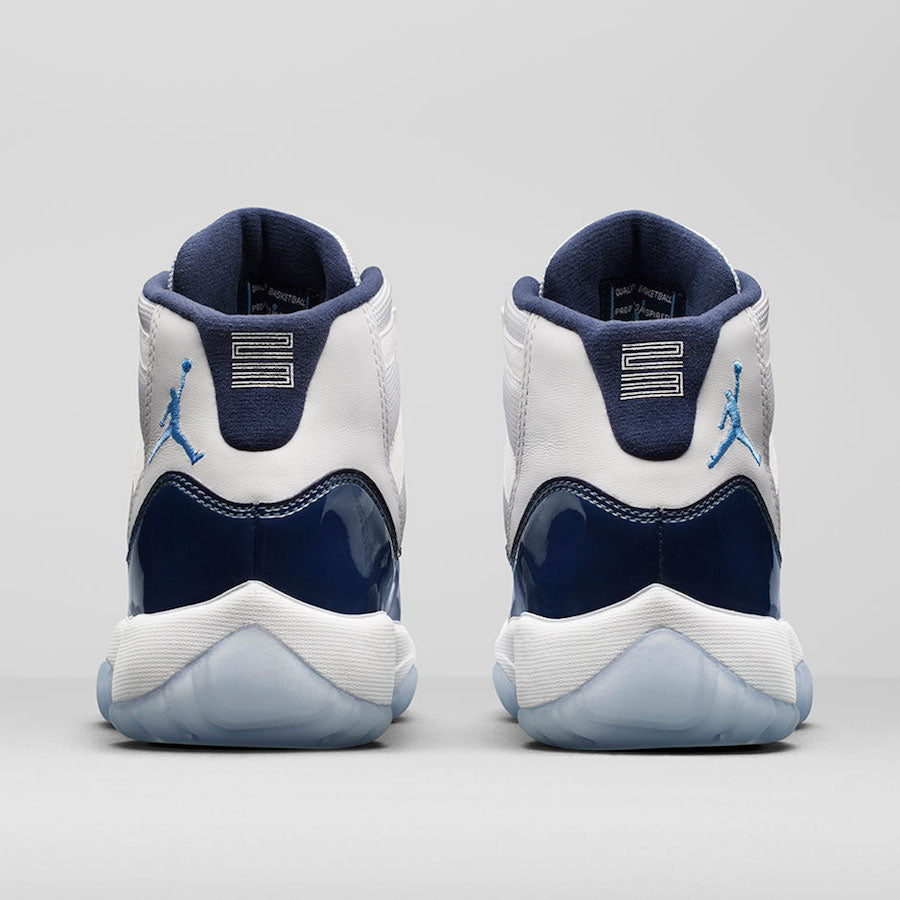 Jordan Men's Air 11 Retro, White/University Blue-Midnight Navy