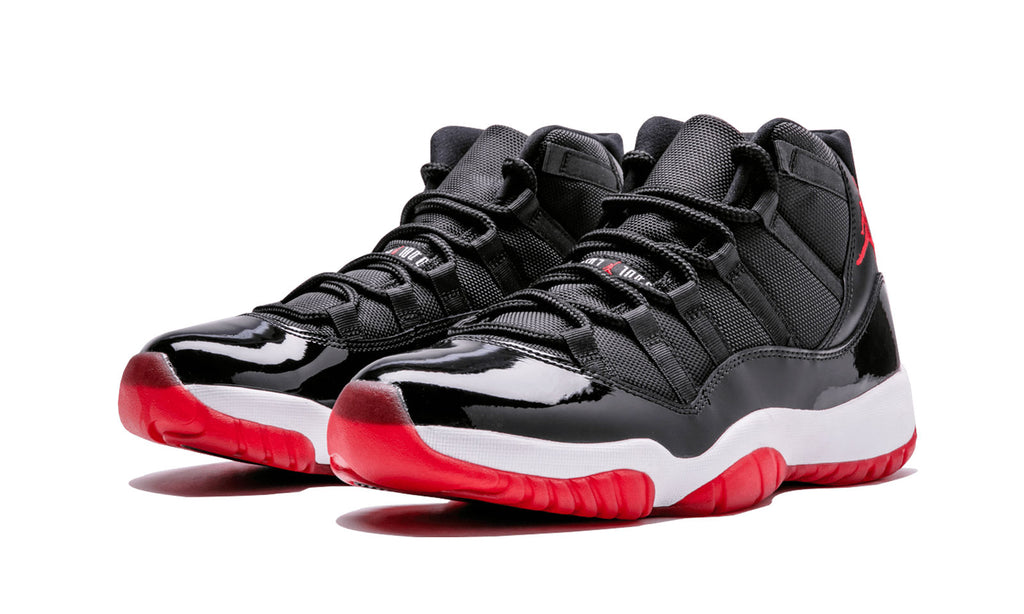 "Nike Mens Air Jordan 11 Retro ""Bred"" Black/Varsity RedWhite Leather Basketball Shoes"
