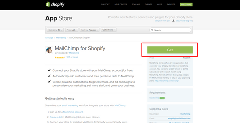 Mail chimp in shopify app store