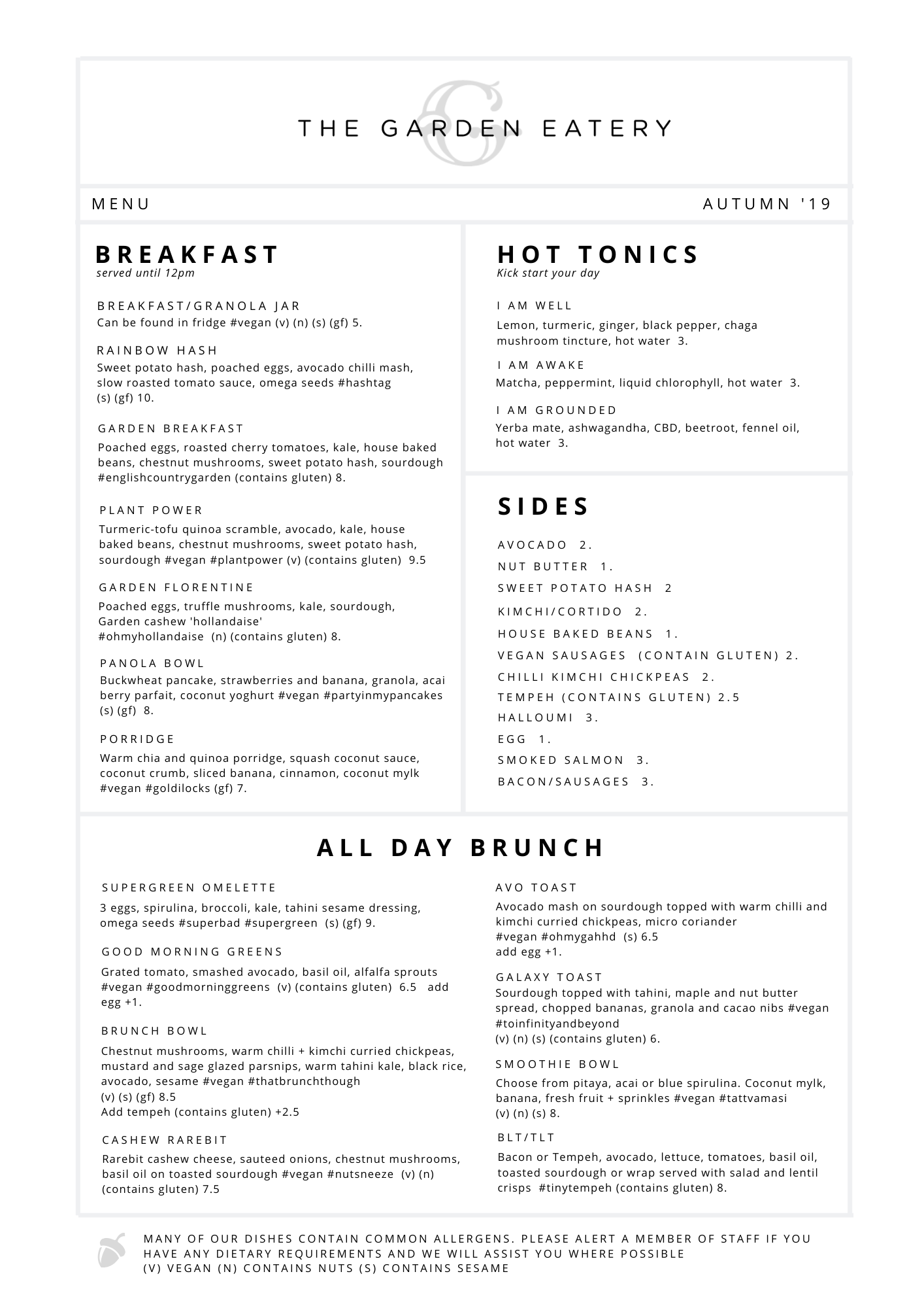 Winter 2020 Menu Breakfast