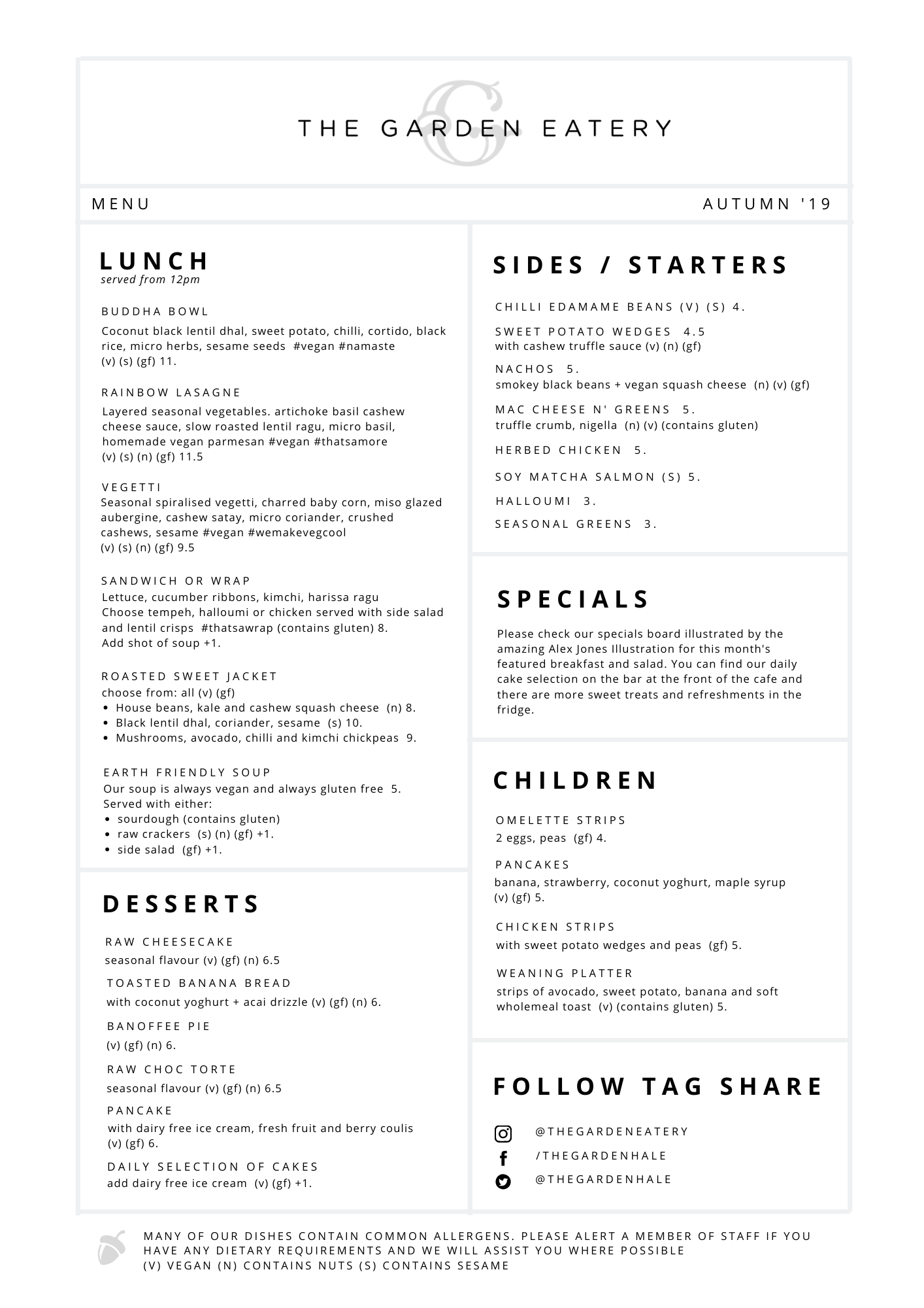 Winter 2020 Menu Lunch