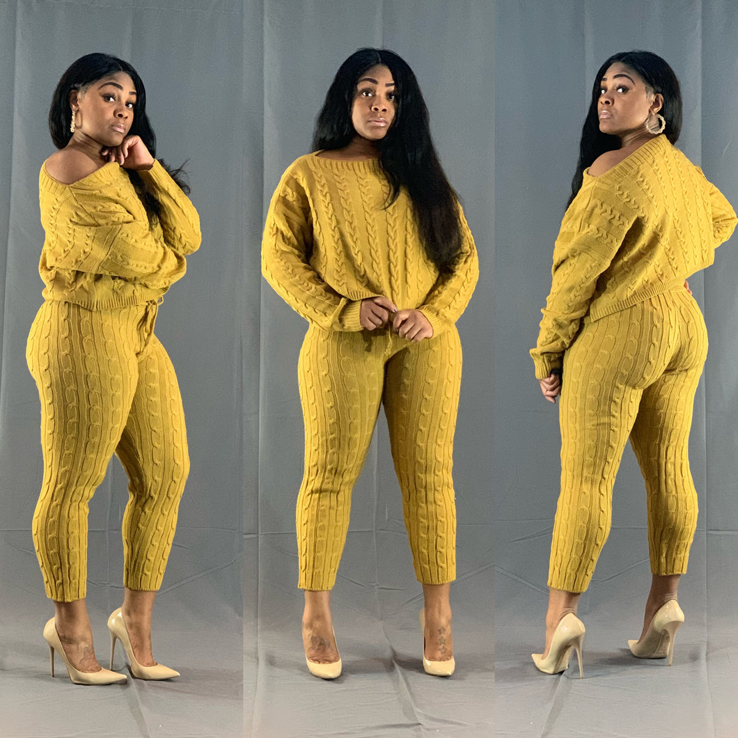 Lounge Around Knit Set- Mustard