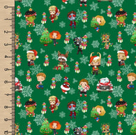 Christmas Heroes Green SS Woven Cotton