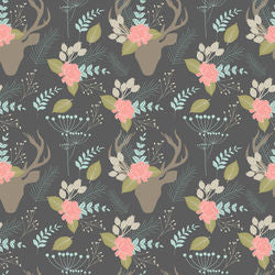 Floral Deer on Grey CL