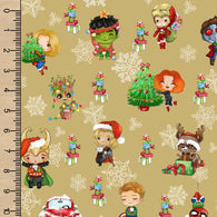 Christmas Heroes Gold Woven Cotton