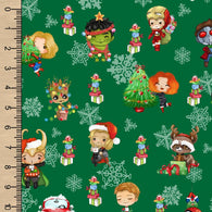Christmas Heroes Green Woven Cotton