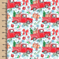 Holiday Trucks White Woven Cotton
