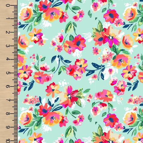 "Remnant Painted Bright Flowers 30"" PUL"
