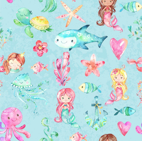 Watercolour Mermaid Sea Life CL
