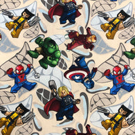 Superhero Block on Light Woven Cotton