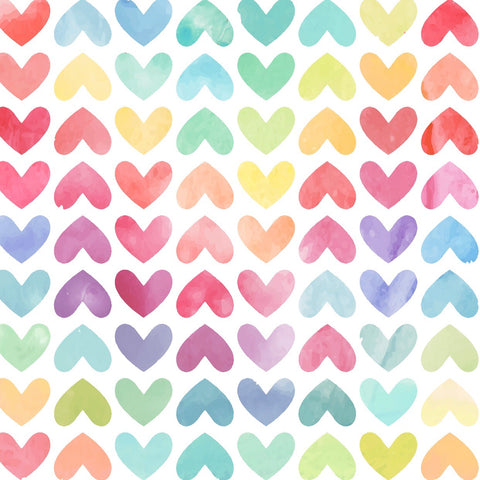 Watercolor Rainbow Hearts Swim