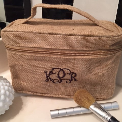 Burlap Train Case