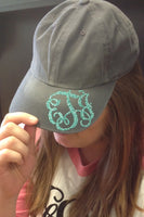 Ball cap with glitter monogram