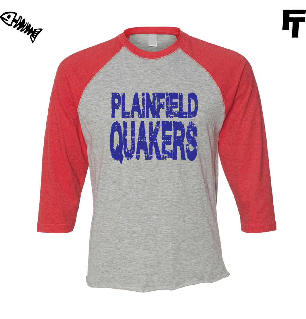 3/4 Sleeve Raglan Plainfield Quakers Shirt