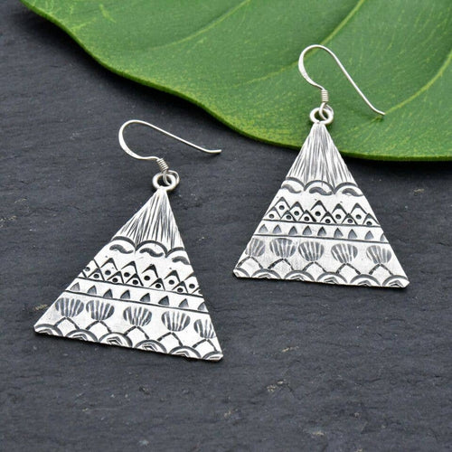 Sterling Silver Pyramid Earrings