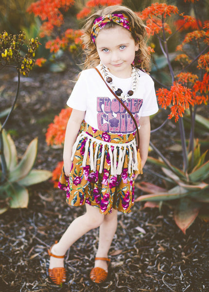 Berry Bloom Tassel Skirt