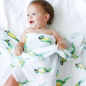 MALABAR BABY -  HANDMADE LUXURY FOR ALL - Certified Organic Cotton Muslin Wild Life Swaddles, Single