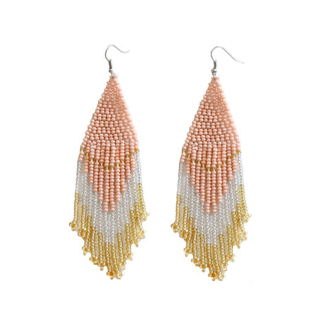 Light Coral and Blue Beaded Earrings
