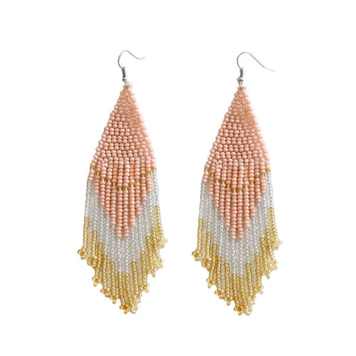Rose & Gold Beaded Earrings
