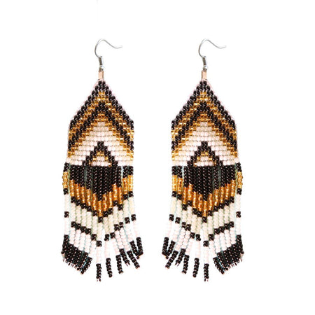 White & Gold Beaded Earrings